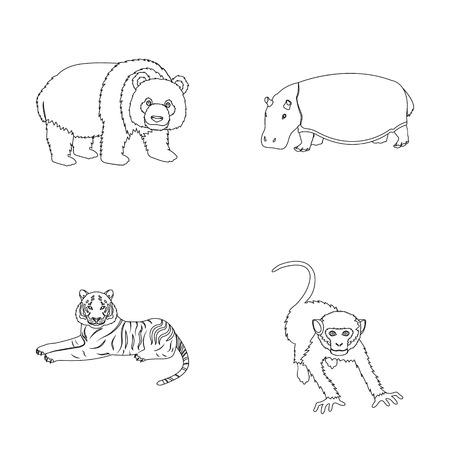 Bamboo bear, hippopotamus, wild animal tiger, monkey . Wild animal set collection icons in outline style vector symbol stock illustration web. Illustration