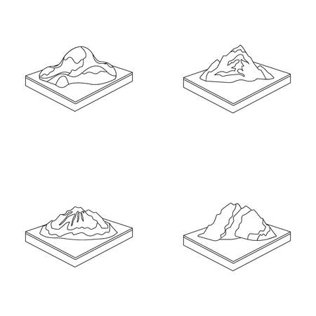 Mountains, rocks and landscape. Relief and mountains set collection icons in outline style isometric vector symbol stock illustration web.