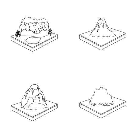 crater lake: Mountains, rocks and landscape. Relief and mountains set collection icons in outline style isometric vector symbol stock illustration web.