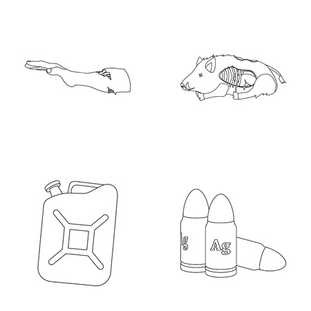 Rotten, flesh, boar, and other  icon in outline style.Apocalypse, end, world icons in set collection. Illusztráció