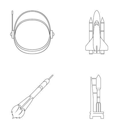 86922799 a spaceship in space a cargo shuttle a launch pad an astronaut s helmet space technology set collect?ver=6 a spaceship in space, a cargo shuttle, a launch pad, an astronaut's