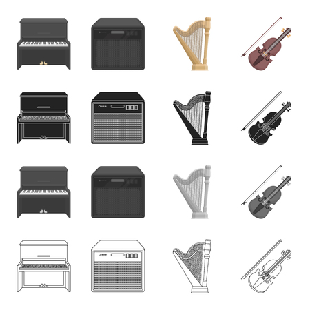 オーケストラ、エンターテイメント、アンサンブル、他の漫画のスタイルのアイコン。コンサート、音楽、交響曲のアイコン セットのコレクション  イラスト・ベクター素材
