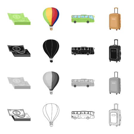 Trip, travel, entertainment and other icons in cartoon style.