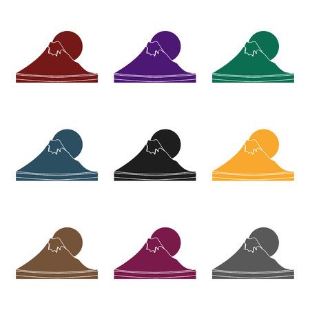 Mount Fuji icon in black style isolated on white background. Japan symbol vector illustration. Illustration