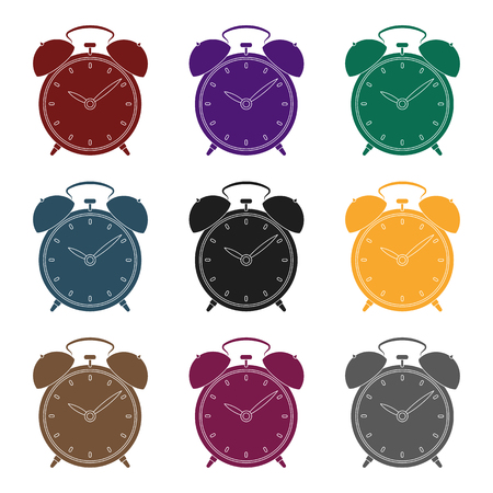 Bedside clock icon in black design isolated on white background. Sleep and rest symbol stock vector illustration. Illustration