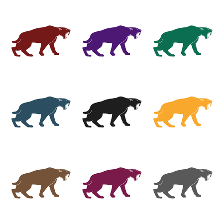 Saber-toothed tiger icon in black style isolated on white background. Stone age symbol vector illustration. Illustration