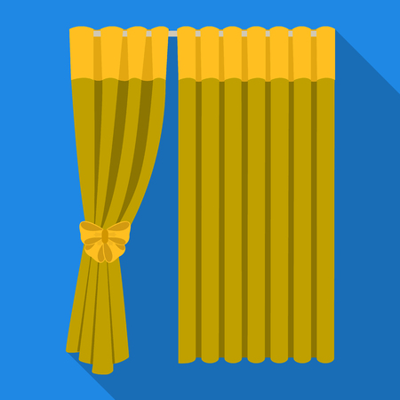 Curtains, single icon in flat style.Curtains, vector symbol stock illustration web. Illustration