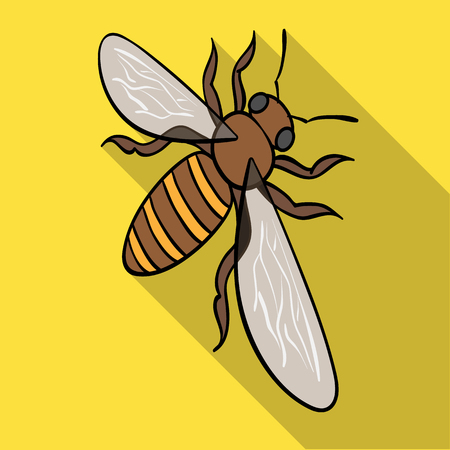 A bee, a hymenopteran insect. Stinging insect bee single icon in flat style vector symbol stock isometric illustration web.