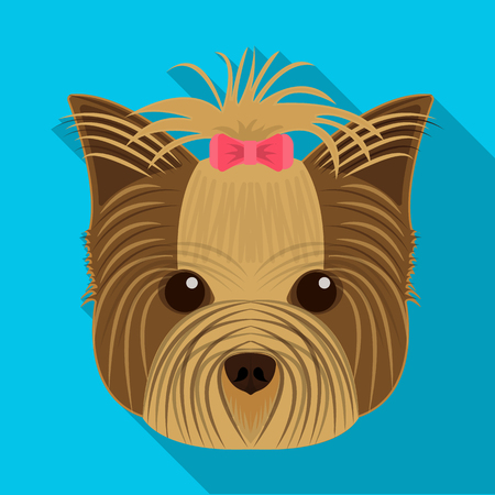 Muzzle of a pet, a hairdress dog with a bow. Pet ,dog care single icon in flat style vector symbol stock illustration web. 向量圖像
