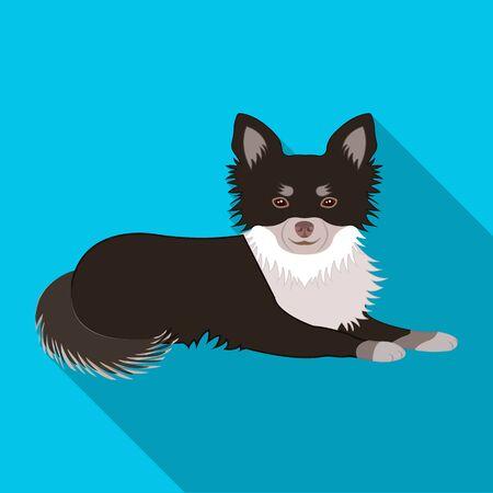 ペット、横たわっている犬。ペット、ドッグケアシングルアイコンフラットスタイルベクターシンボルストックイラストウェブ。  イラスト・ベクター素材