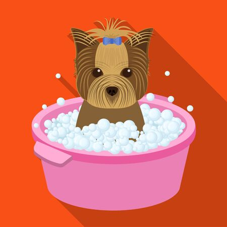 Bathing pet puppy in a bowl. dog,Pet,dog care single icon in flat style vector symbol stock illustration web.