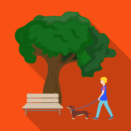 Boom en bank, vrouw loopt een huisdier in het park. Huisdier, hond zorg één pictogram in vlakke stijl vector symbool stock illustratie web.