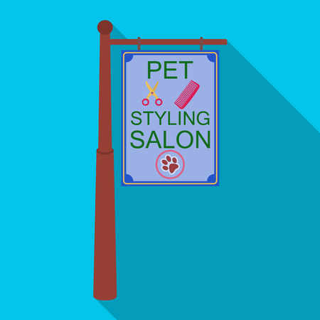 Stylish salon for a pet, a sign on a street post, Pet care single icon in flat style vector symbol stock illustration web.