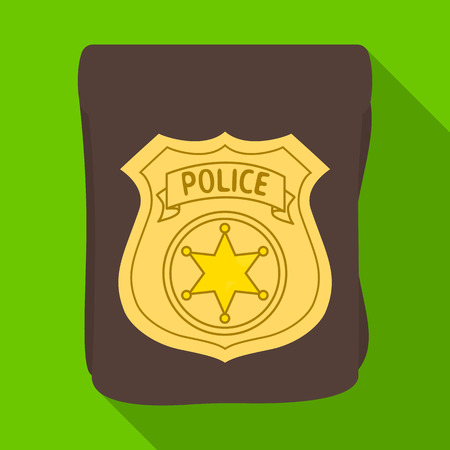 A badge, a police badge. Detective and police single icon in flat style vector symbol stock illustration web.