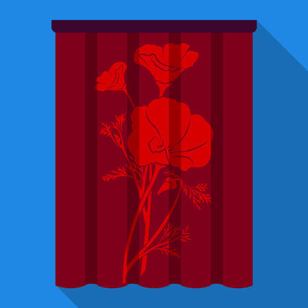 Curtains, single icon in flat style.Curtains vector symbol stock illustration web.