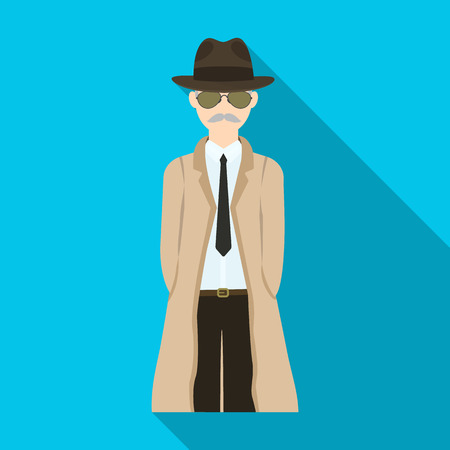 Appearance of the detective. Man detective in a hat and raincoat single icon in flat style vector symbol stock illustration web.