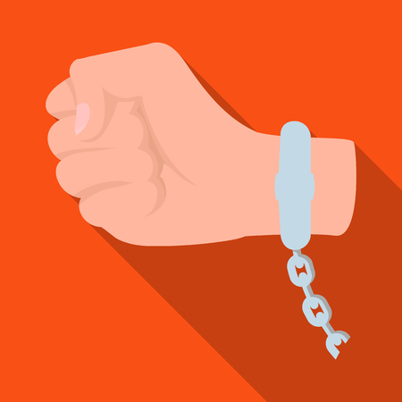 Handcuff on the hand of the criminal, Crime and arrest single icon in flat style vector symbol stock illustration web. Illustration