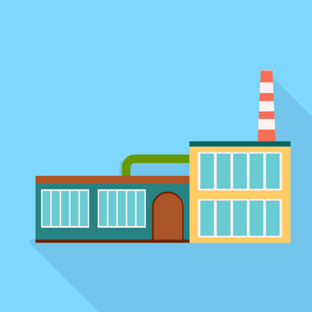 Factory, single icon in flat style.Factory, vector symbol stock illustration web. Stock Photo