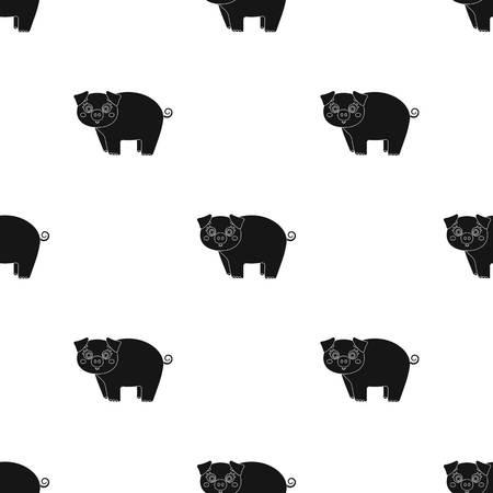 Piglet, single icon in black style.Piglet vector symbol stock illustration web. Ilustracja