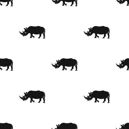 大きなインドサイの野生動物、黒いシルエット シームレスなスタイルのベクトル シンボル ストック イラスト web の背景サイ アイコン。  イラスト・ベクター素材
