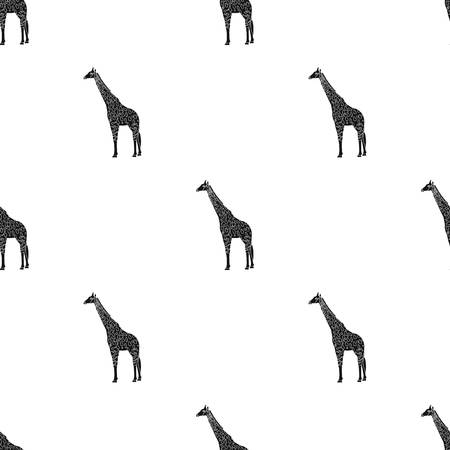 Giraffe is the highest land animal. A wild animal, a giraffe single icon in black style vector symbol stock illustration web. Ilustrace