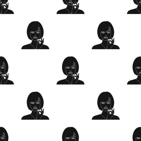 Girl, single icon in black style.Girl vector symbol stock illustration web.