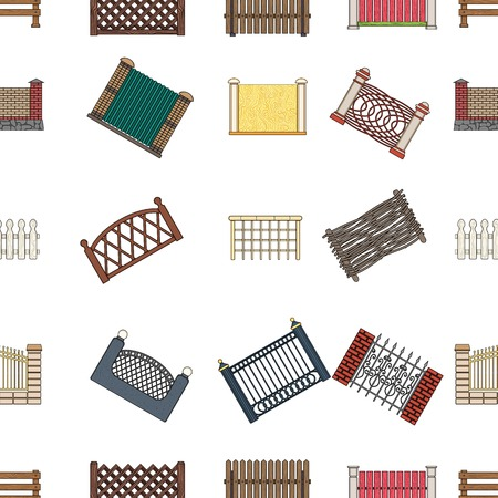 A fence of metal and bricks,wooden palisade and other varieties. A different fence set collection icons in cartoon style vector symbol stock illustration web. Illustration
