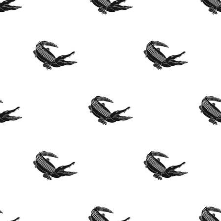 Crocodile, dangerous predator. Reptile, Nile crocodile single icon in black style vector symbol stock illustration web. Ilustração