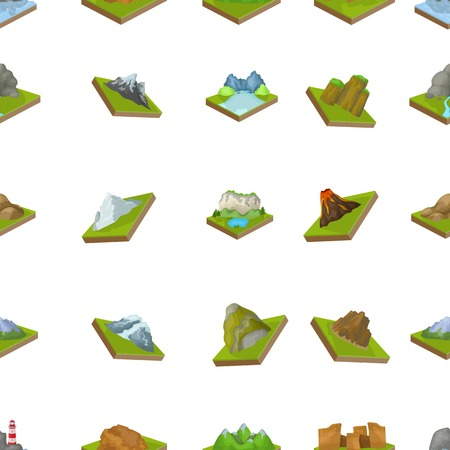 crater lake: Mountains, rocks, lighthouse, volcano and other land reliefs. Mountains and landscapes set collection icons in cartoon style isometric vector symbol stock illustration web.