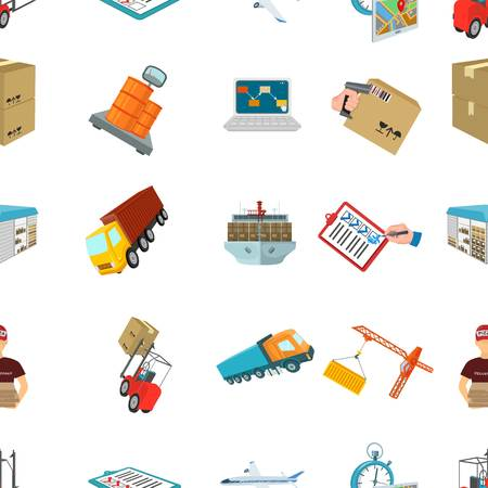 Forklift, cargo plane, goods, documents and other items in the delivery and transportation. Logistics and delivery set collection icons in cartoon style isometric vector symbol stock illustration web.