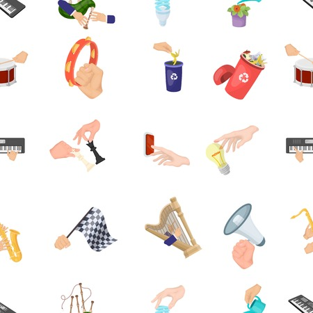 Musical instrument, garbage and ecology, electric applianc and other web icon in cartoon style. Megaphone, finishing checkered flag, gesture and manipulation with hands icons in set collection. Illustration