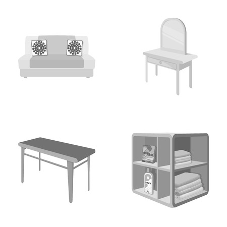 Furniture and interior set collection icons in monochrome style isometric vector symbol stock illustration web. Illustration