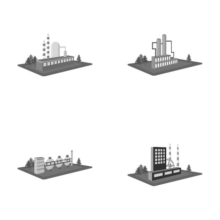 Processing factory,metallurgical plant. Factory and industry set collection icons in monochrome style isometric vector symbol stock illustration web. Иллюстрация
