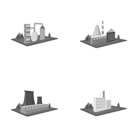 Processing factory,metallurgical plant. Factory and industry set collection icons in monochrome style isometric vector symbol stock illustration web. Фото со стока - 86964154