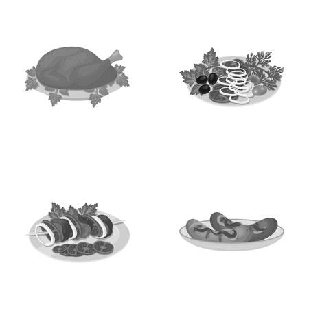 banger: Fried chicken, vegetable salad, shish kebab with vegetables, fried sausages on a plate. Food and Cooking set collection icons in monochrome style vector symbol stock illustration web.