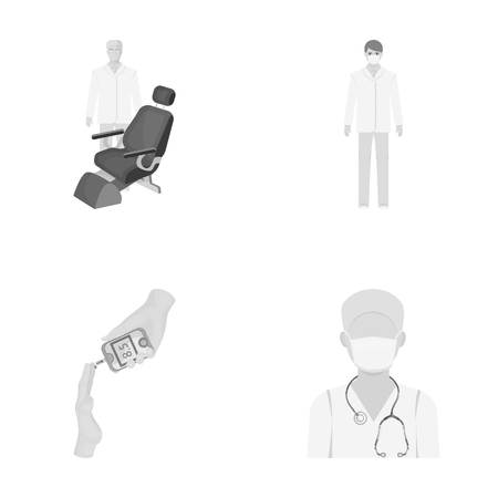 Doctor in a face mask, dentist, medical staff, a blood test for sugar. Medicineset collection icons in monochrome style vector symbol stock illustration web. Illustration