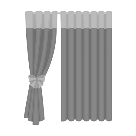 Curtains, single icon in monochrome style.Curtains, vector symbol stock illustration web. Illustration