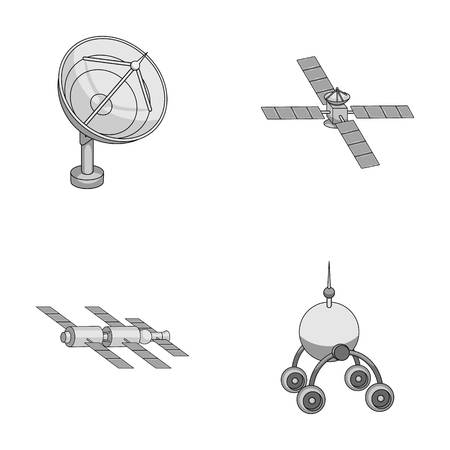 displacement: Radio radar, docking in space spacecraft, Lunokhod. Space technology set collection icons in monochrome style vector symbol stock illustration web.