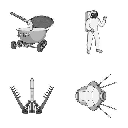 radiation protection suit: Lunokhod, space suit, rocket launch, artificial Earth satellite. Space technology set collection icons in monochrome style vector symbol stock illustration web.