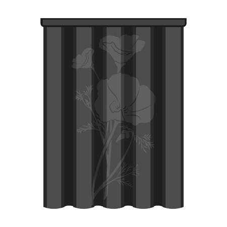 Curtains, single icon in monochrome style.Curtains vector symbol stock illustration web.