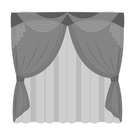Curtains, single icon in monochrome style.Curtains, vector symbol stock illustration web. Çizim