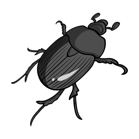 Beetle is a coleopterous insect.Arthropods insect, beetle single icon in monochrome style vector symbol stock isometric illustration web.