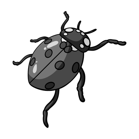 Ladybug is an arthropod.The insect beetle,ladybug single icon in monochrome style vector symbol stock isometric illustration web.