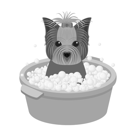 Bathing pet puppy in a bowl. dog,Pet,dog care single icon in monochromt style vector symbol stock illustration web. Ilustrace