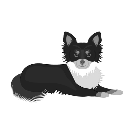 A pet, a lying dog. Pet ,dog care single icon in monochromt style vector symbol stock illustration web.