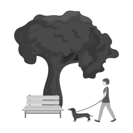 Tree and bench, woman walks a pet in the park. Pet ,Dog care single icon in monochromt style vector symbol stock illustration web. Çizim