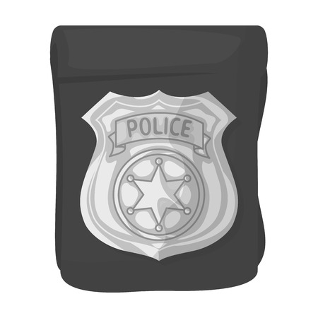 A badge, a police badge. Detective and police single icon in monochrome style vector symbol stock illustration . Illustration