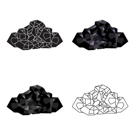 鉱山産の黒い鉱物。鉱山で採掘される石炭。漫画スタイルのベクトル シンボル ストック イラストの鉱山業界の 1 つのアイコン。