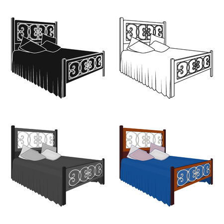 Wooden bed for teenager with graffiti on the back.Bed with blue linens.Bed single icon in cartoon style vector symbol stock illustration.