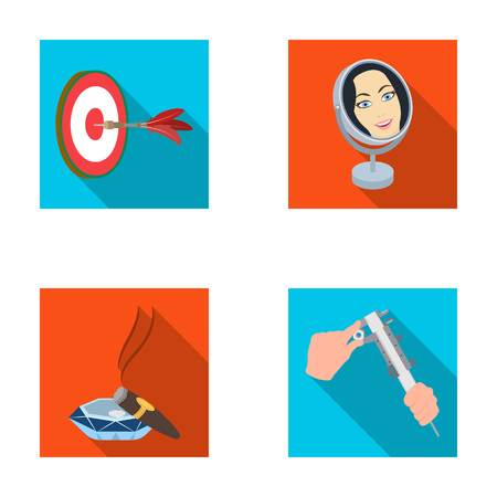 Game Darts, reflection in the mirror and other web icon in flat style. Cigar in ashtray, calipers in hands icons in set collection. Illustration